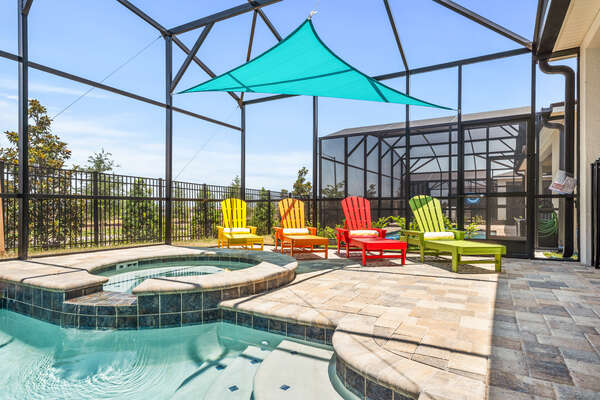 The screened-in pool provides privacy