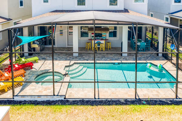A private patio is perfect for family fun