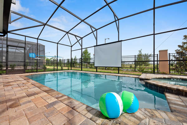 A projection screen can come down so you can watch a movie while floating in the pool