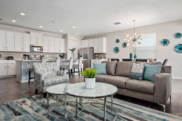 The open floor plan will bring you and your family closer this vacation