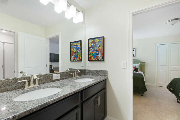Both kids bedrooms share a Jack and Jill bathroom