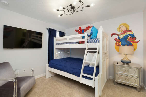 Features a twin over full bunkbed and an en-suite bathroom