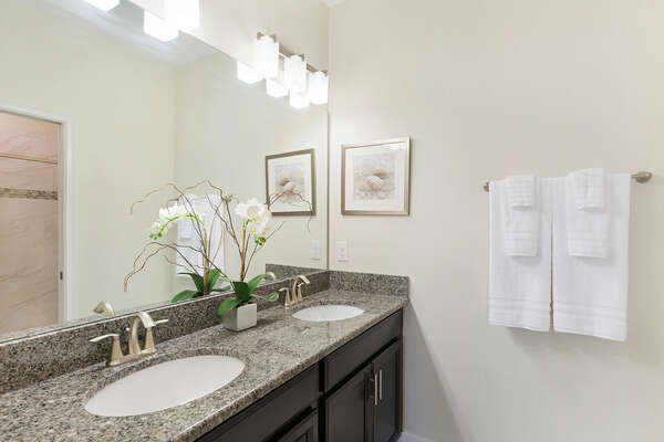 Theres plenty of space to get ready with loved ones at the dual vanity