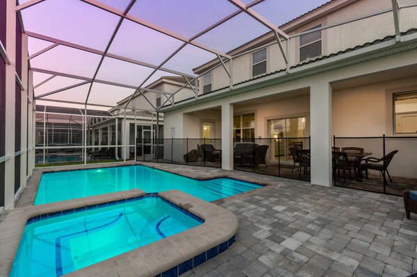 Swim and enjoy time with loved ones in the pool or spillover spa