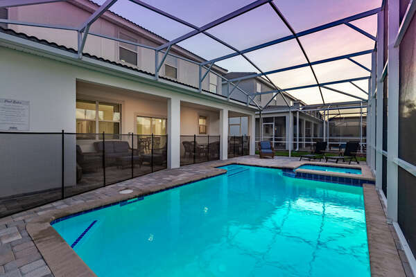 A safety fence surrounds the pool area to keep your mind at ease