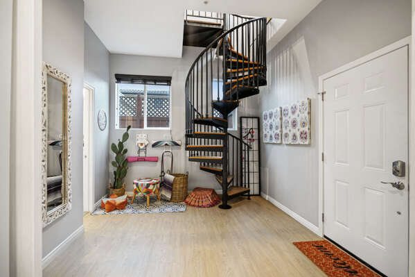 Lower Level Entryway with spiral staircase