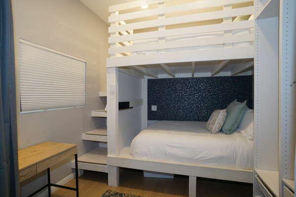 Guest Bedroom with Custom Built Queen-Queen and Desk Workspace