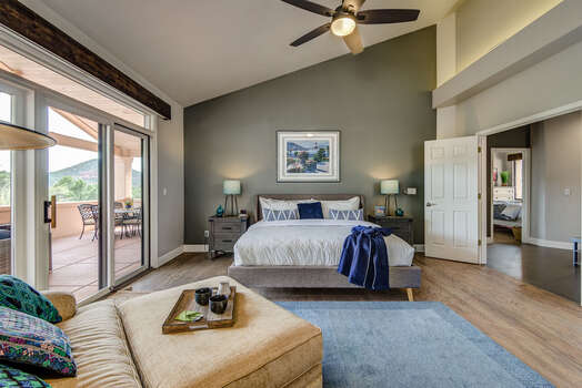 Double Door Entry into the Master Bedroom - King Bed, Hardwood Floors and Vaulted Ceiling, 50