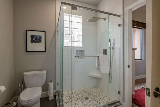 Full Shared Bath with a Large Tile/Glass Shower with Dual Shower Heads