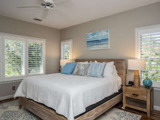 Master bedroom on second level with king bed