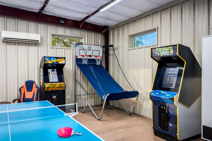 Two Stand Up Arcades, Pop a Shot Basketball, and Ping Pong Table.