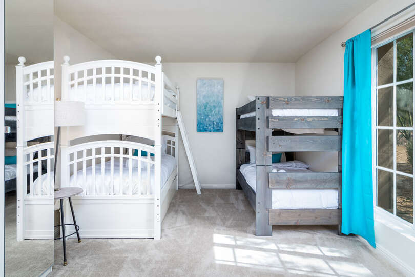 Bedroom with Two Bunk Beds on our Resort Rental Scottsdale.