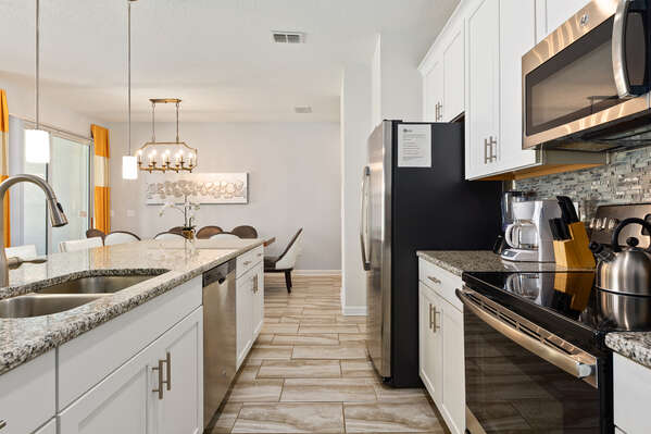 The kitchen is fully equipped with everything you need to prepare a delicious meal