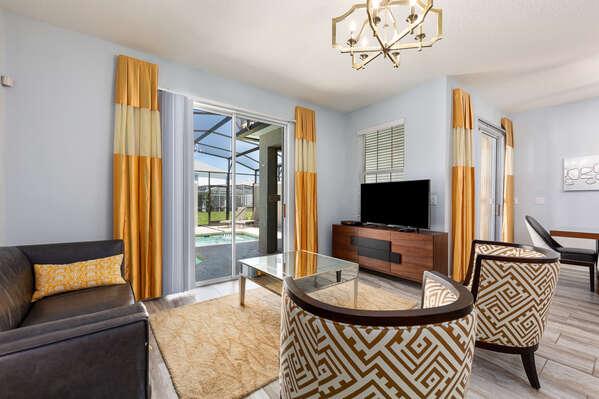 The interior of the home has a contemporary design
