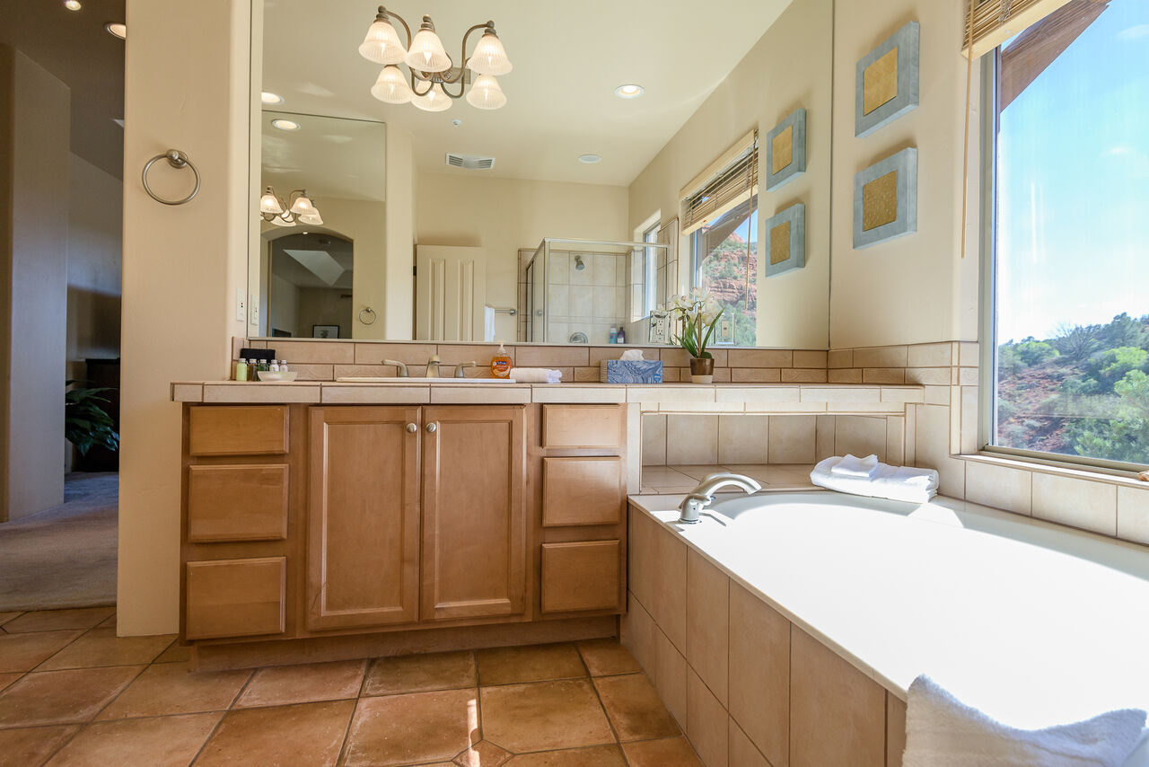 Master Bath with a Soaking Tub and Separate Shower