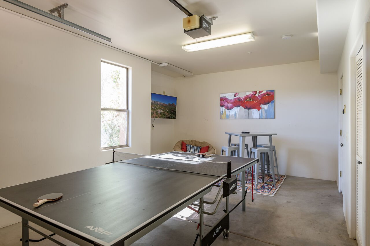 Smart TV, High-top Table and Ping Pong Table