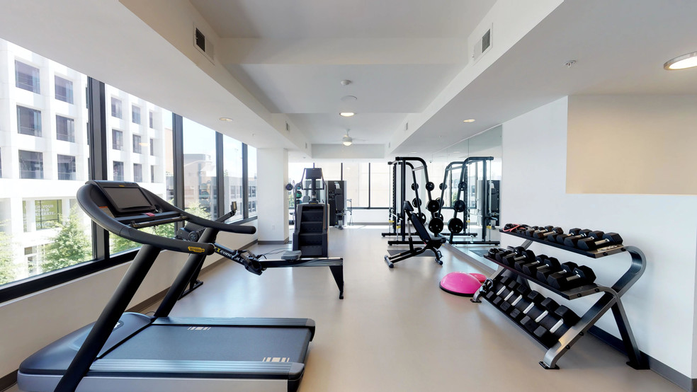 Gym Space Offers Guests Fitness Equipment and Space to Exercise.