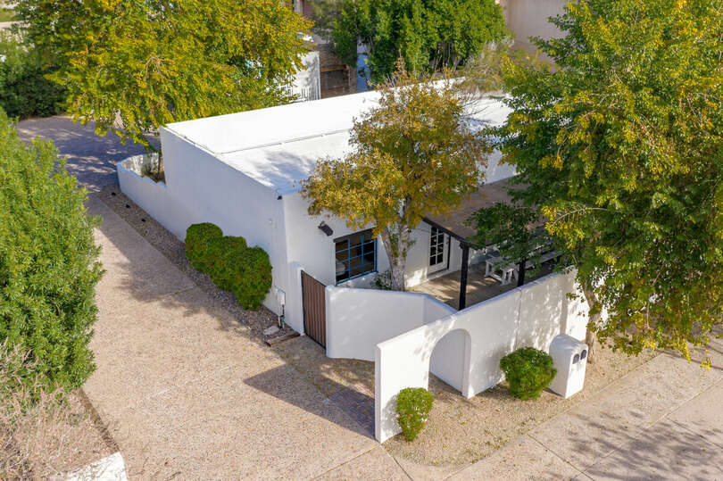 Aerial view of this beautiful, secluded home.