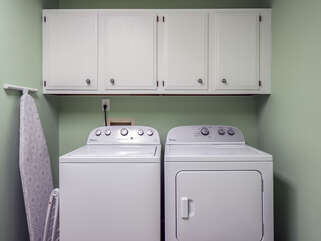 Full size washer/dryer in 2nd floor laundry room