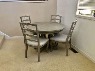 Dining room seating for 4 for eating or playing card/board games!