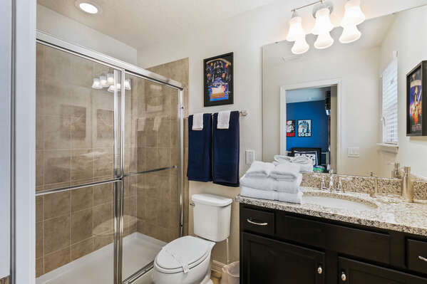 The ensuite bathroom with a walk-in shower