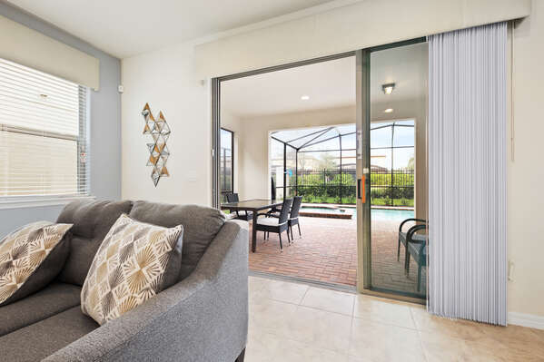 The living area leads right outside to your own private lanai