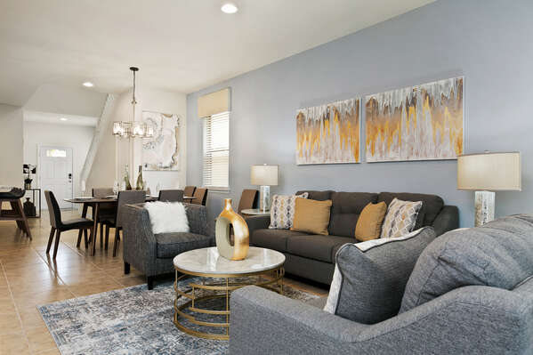 Elegant details and furnishings fill the living area