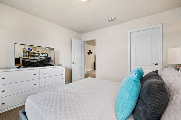 Featuring a Queen bed and a TV