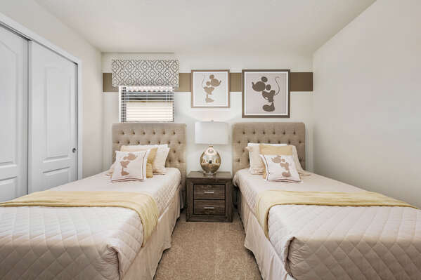 Fun themed bedroom with 2 twin beds