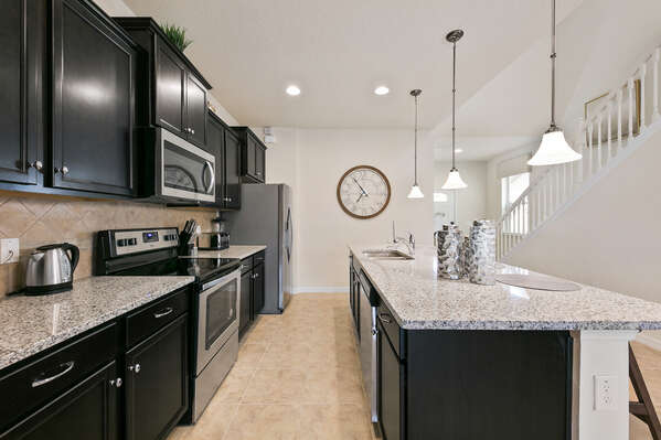 Stainless steel appliances and plenty of counterspace