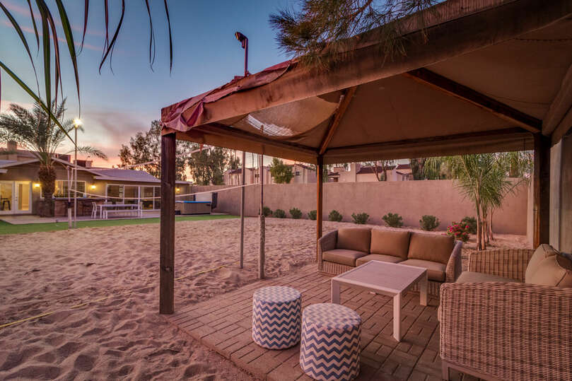 Gazebo with lounge seating to enjoy the outdoors in the shade.