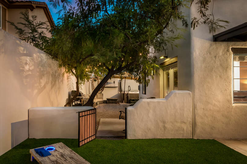 Private backyard with lounging, heating, BBQ, and more.