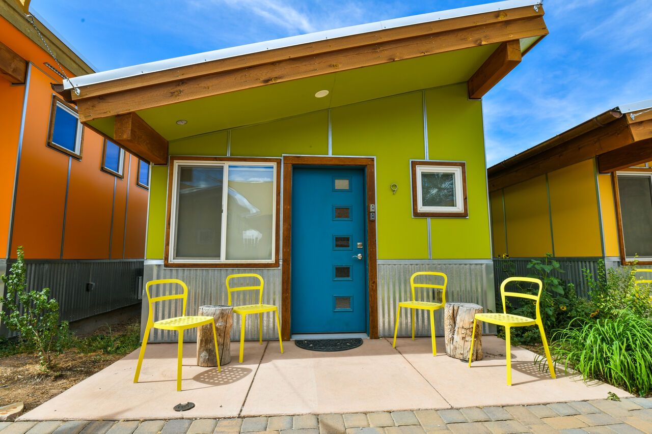 The exterior of this vacation rental in Moab Utah.