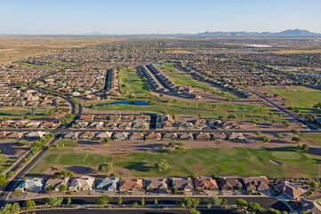 An aerial view of the popular and highly rated Sunland Springs Village and beyond.