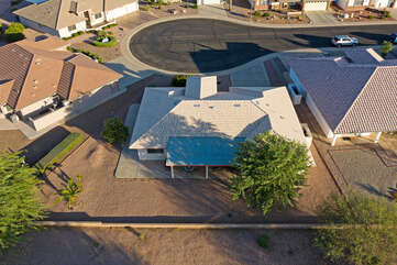 A bird's eye view of our home which is situated on a quiet cul de sac in a highly rated 55+ community.