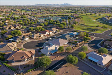 Our vacation home is located on the pictured cul de sac with the magnificent Superstition Mountains looming in the distance.