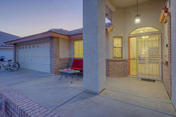 Private entrance welcomes you to lovely 3 BR, 2 BA, one story home in peaceful and friendly community.