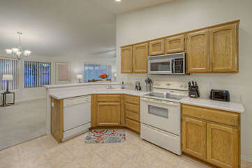 Open floor plan allows everyone to be included in the food prep fun.