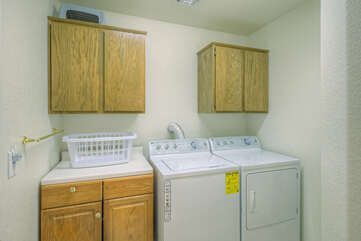 Dedicated laundry room is stocked with the supplies you need to keep your wardrobe ready for the next Arizona adventure.