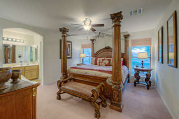 Feel like royalty in the primary suit which features a stately king bed, TV, walk-in closet and ensuite bath.
