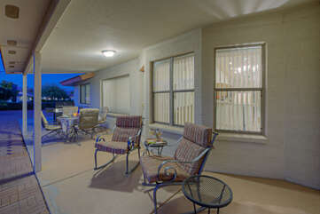 The best seats in the house may be the outdoor seats with mountain and golf course views!