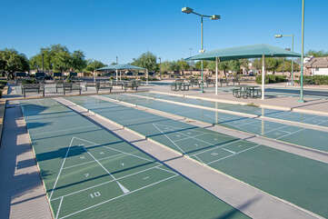 Shuffleboard courts offer another variety of competitive fun for all who long to be active.