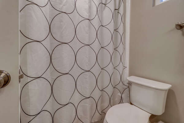 Toilet and Shower with Curtain.