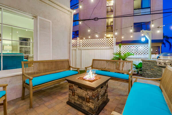 Front Patio, Seating Set, Fire Pit and BBQ Grill.