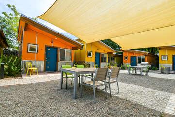 Shaded shared patio.