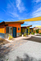 Shared Patio space, this photo focusing on three homes.