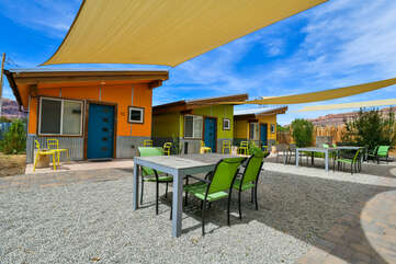 Shared Patio with f\green seating and tarp sun shields.