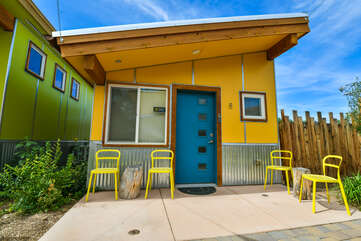 The exterior of this Kokopelli West Moab rental, with yellow