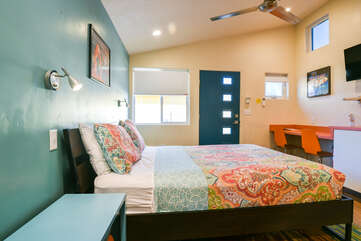 Studio View with bed and wall-mounted tv