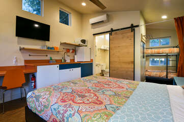 This studio includes a bed and kitchenette